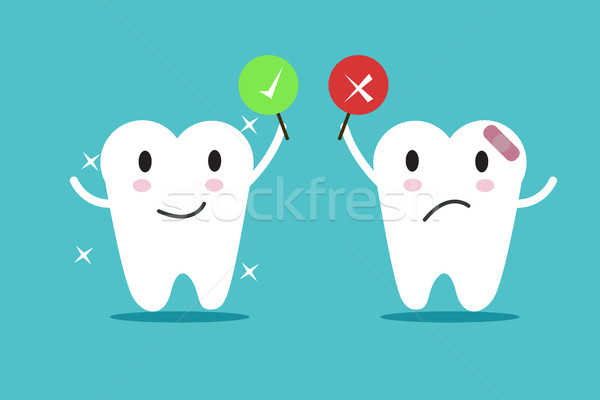 tooth with True and False sign. Stock photo © mangsaab