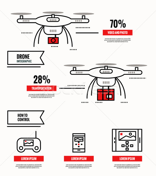 Stock photo: Drone infographic. media, shipping, surveillance, control.