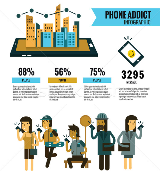Smartphone Addict info graphic. people Holding Cell Smartphone.  Stock photo © mangsaab