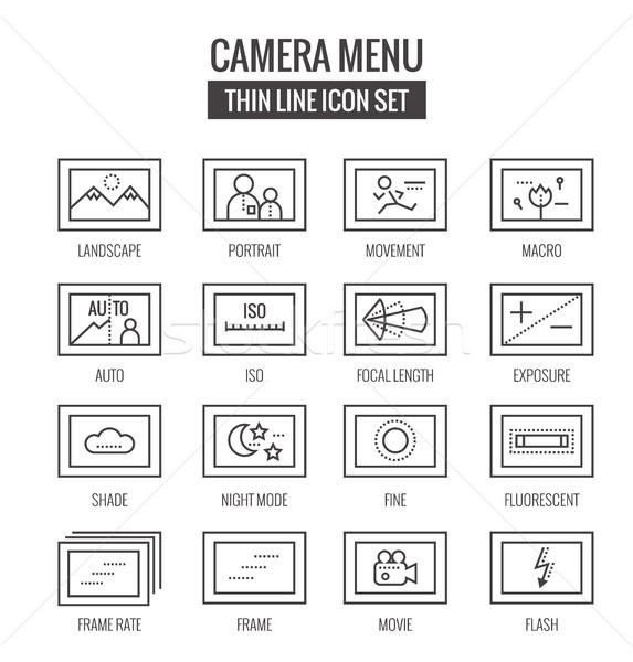 Camera menu functie iconen dun lijn Stockfoto © mangsaab