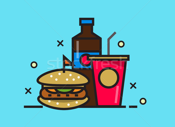Hamburger kóla ital gyorsételek étel vonal Stock fotó © mangsaab