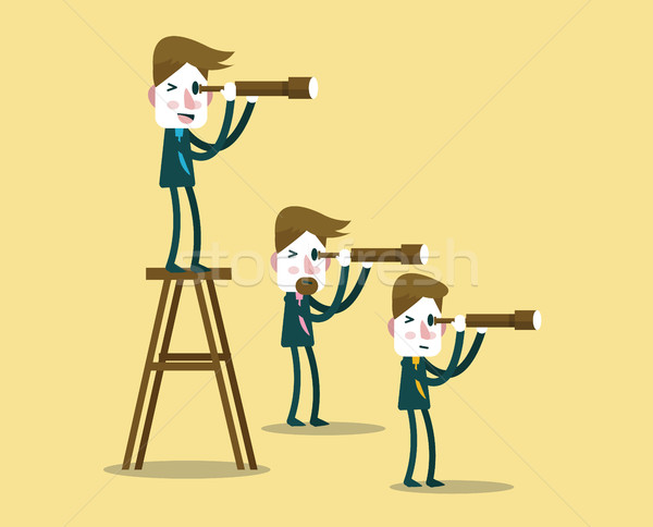 Stock photo: Business people with telescope in different perspective.