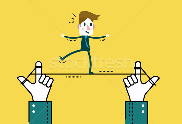 Businessman walking on line, control by big hand.  Stock photo © mangsaab