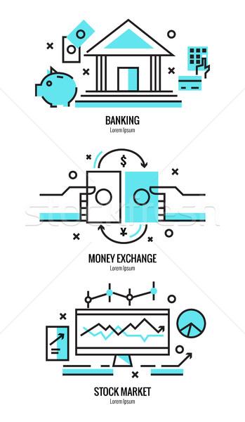 Ince hat dizayn çevrimiçi bankacılık hizmetleri Stok fotoğraf © mangsaab