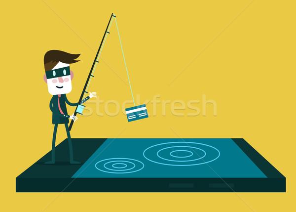 Ladrón datos tarjeta de crédito dinero Foto stock © mangsaab
