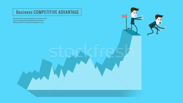 businessman push competitor down from top graph. Stock photo © mangsaab