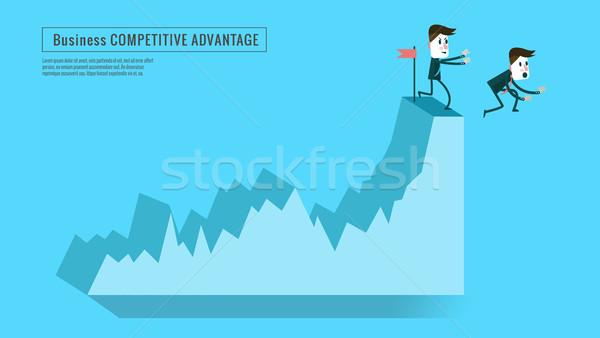 Empresário concorrente para baixo topo gráfico Foto stock © mangsaab