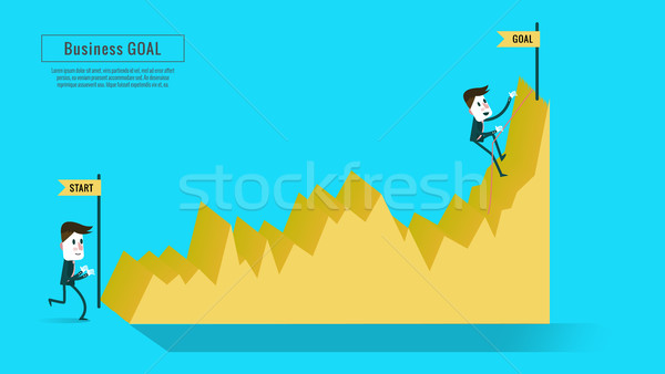 Two businessmen on the graph. one on start point. one climbing to the top. Stock photo © mangsaab