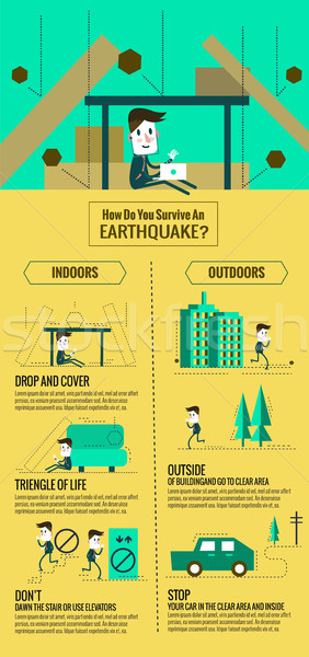 Earthquake escape infographic. how do you servive an earthquake. Stock photo © mangsaab