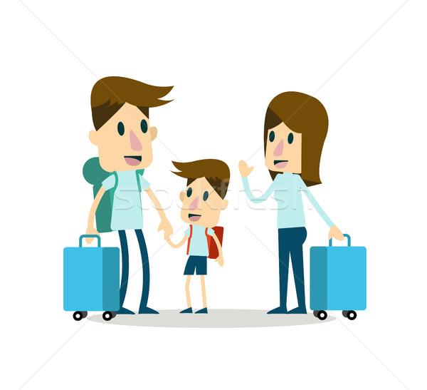 Familia vacaciones carácter diseno feliz ninos Foto stock © mangsaab
