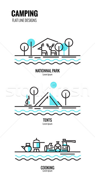 Camping scene and elements. Stock photo © mangsaab