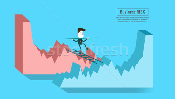 Businessman crossing from down graph to growth graph. Stock photo © mangsaab