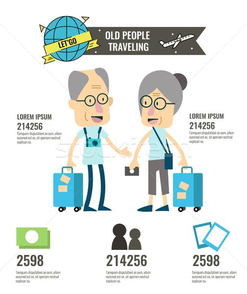 Ancianos viaje turismo infografía carácter diseno Foto stock © mangsaab