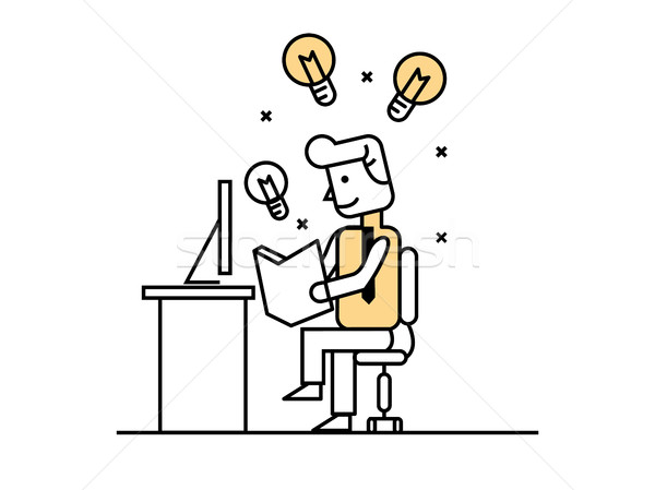 Stock photo: businessman open book to find idea, idea concept.