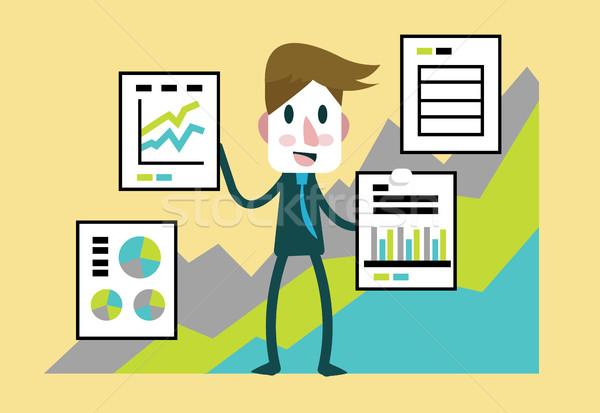 Empresario presentación estadística financieros beneficio documentos Foto stock © mangsaab