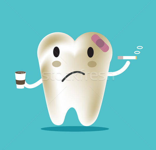 Stock photo: unhealthy tooth with coffee and smoke, great for dental care and teeth whitening and bleaching conce