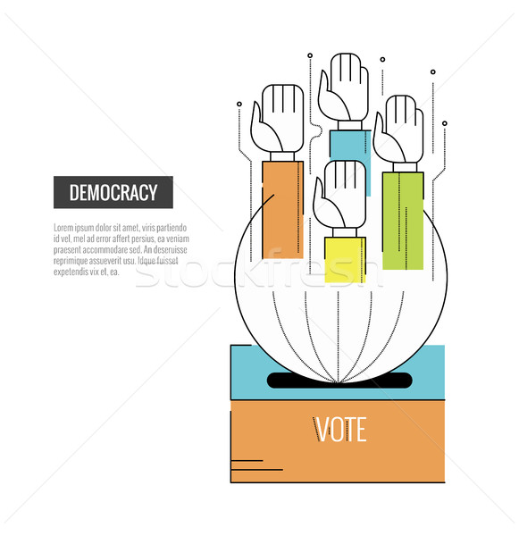 Democratie hand website banner sjabloon Stockfoto © mangsaab