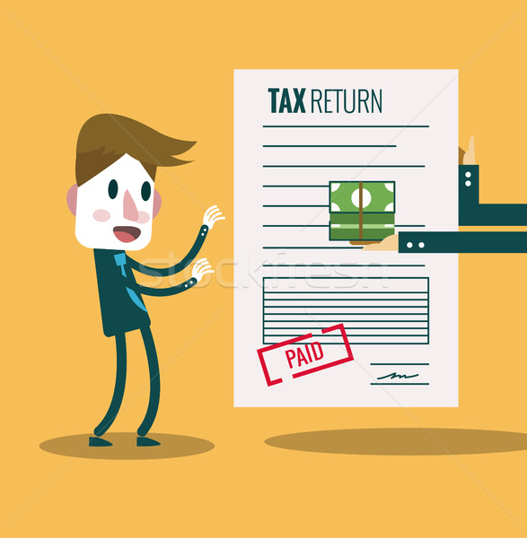 Businessman get paid bill and money return.Tax return concept.   Stock photo © mangsaab