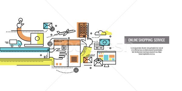オンラインショッピング 貨物 eコマース 注文 配信 ウェブサイト ストックフォト © mangsaab