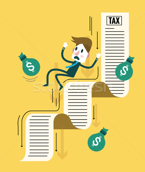 Businessman and his money flowing down on tax document.  Stock photo © mangsaab