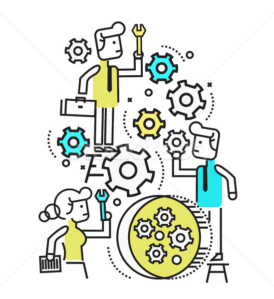 Business people manage and fix machine gear wheel. Stock photo © mangsaab