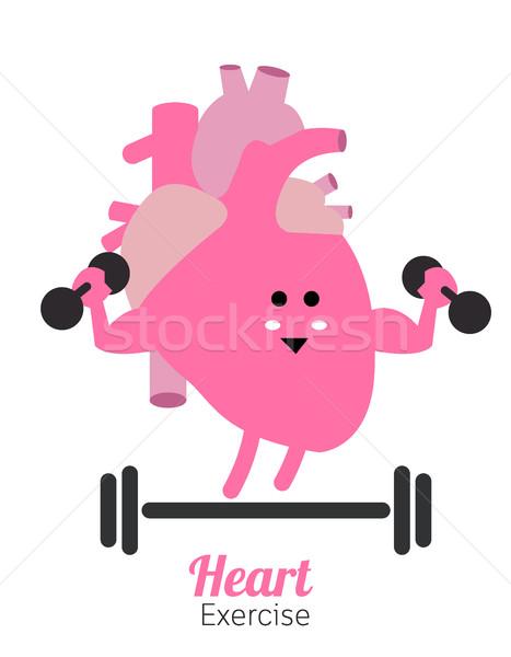 Corazón vector diseno fitness inteligentes Foto stock © mangsaab