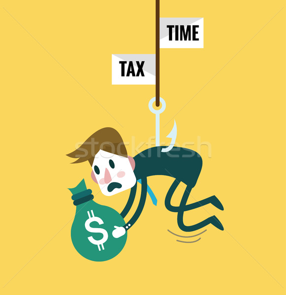 Tied Business Man with tax fishing hook.  Stock photo © mangsaab