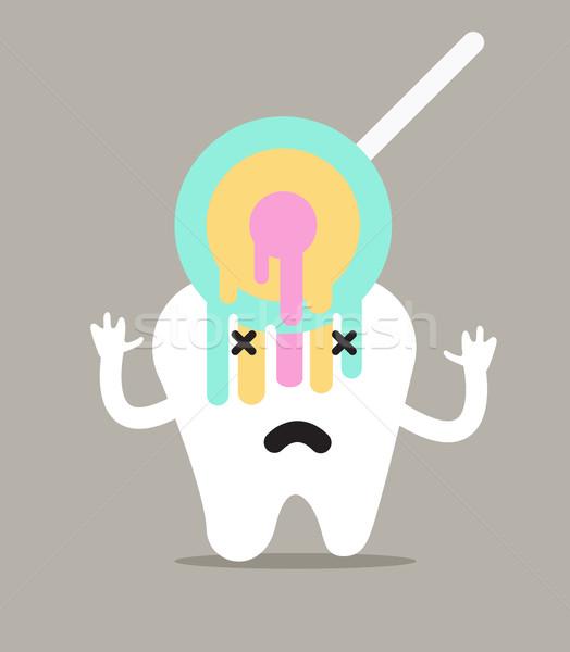 Diş tatlı şeker karakter dizayn tıp Stok fotoğraf © mangsaab