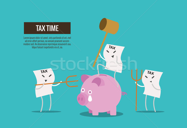 Tax bill hold hammer about to smash piggy bank.  Stock photo © mangsaab