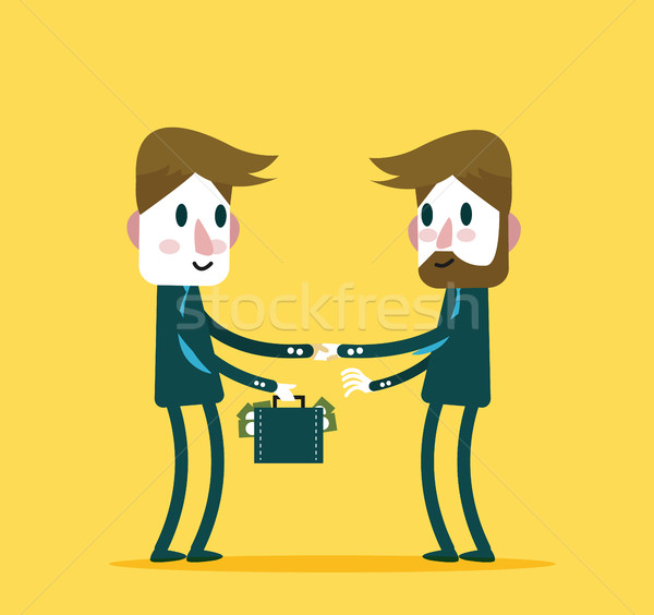 Business people check hand with a lot of money.  Stock photo © mangsaab