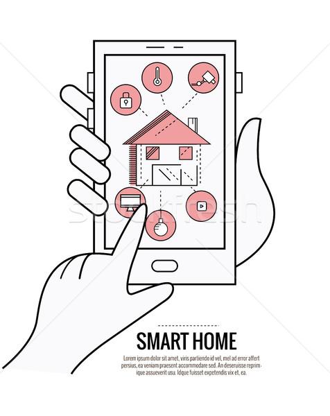 Akıllı ev teknoloji kontrol aydınlatma ısıtma Stok fotoğraf © mangsaab