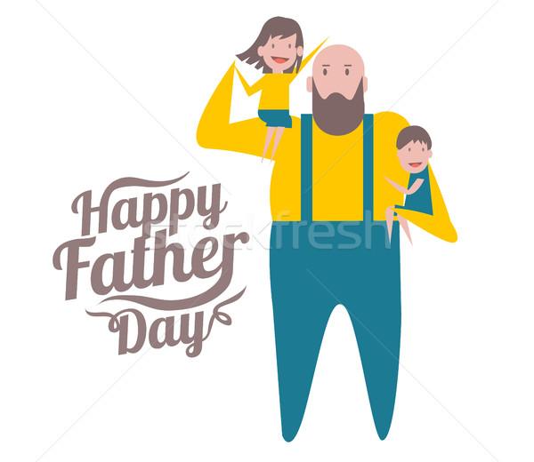Mutlu babalar günü baba çocuklar karakter dizayn elemanları Stok fotoğraf © mangsaab