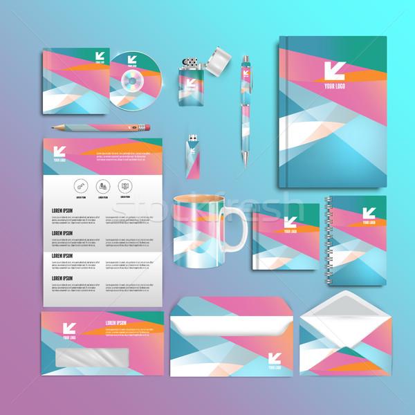 Coloré papeterie modèle design documentation affaires Photo stock © mangsaab