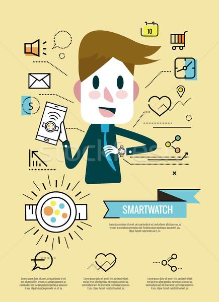 Empresario disfrutar inteligentes ver infografía iconos Foto stock © mangsaab