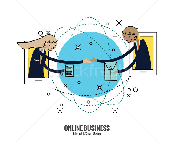 Business people hand shake  on smartphone across the world.  Stock photo © mangsaab