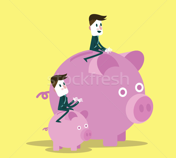 business people with them piggy bank.  Stock photo © mangsaab