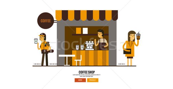 Coffee shop on the street with customers. Stock photo © mangsaab
