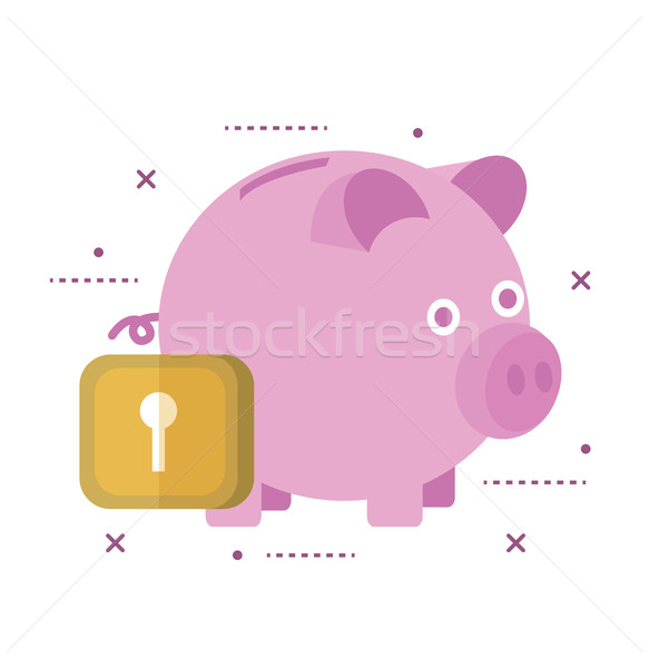 <br>Piggy bank secured with lock.  Stock photo © mangsaab