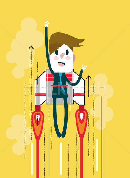 Flying businessman with jetpack. Stock photo © mangsaab