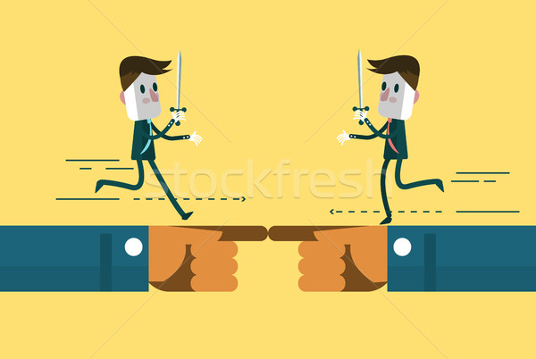 Business people fighting on hand control. Stock photo © mangsaab