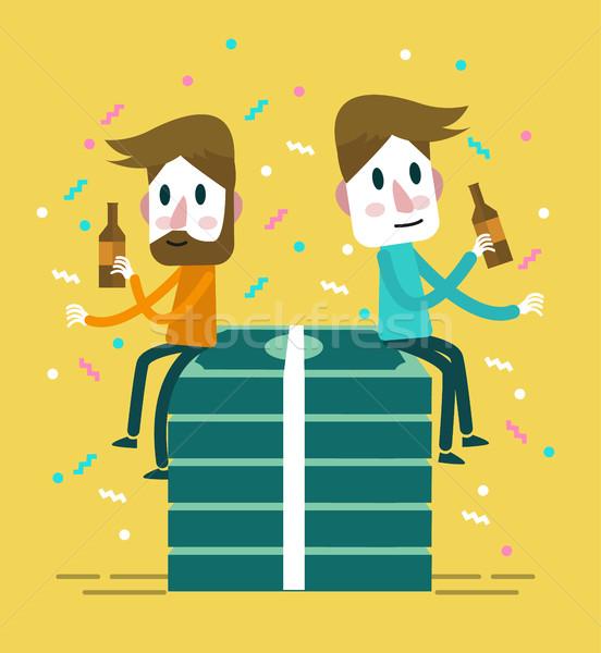 Dos feliz empresario beber grande Pack Foto stock © mangsaab