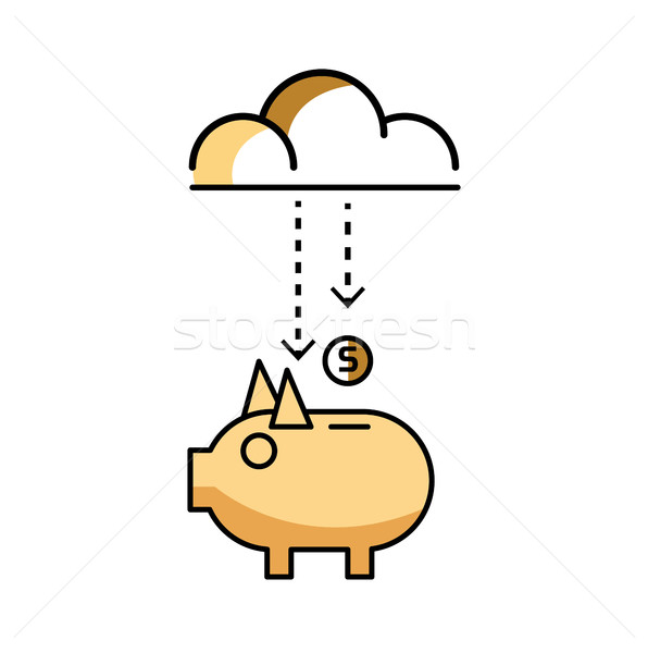 Piggy bank with stock of money and clouds. Stock photo © mangsaab