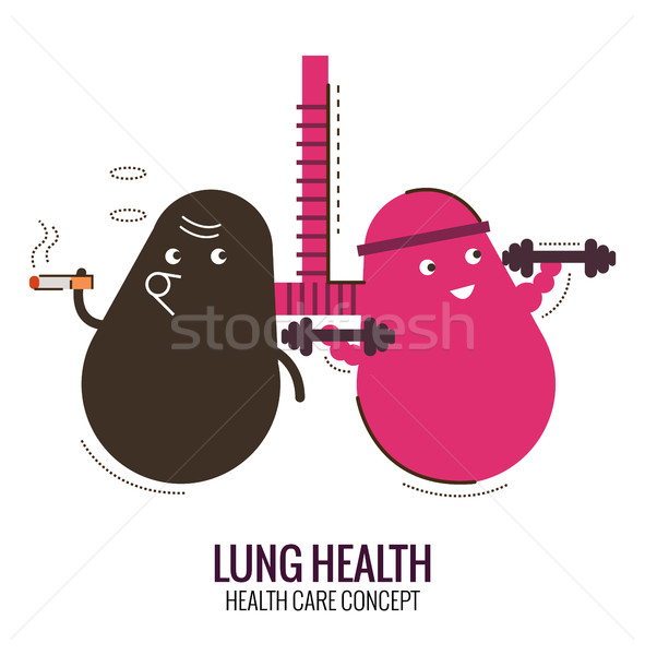 Lungs of a healthy person and smoker. Danger of smoking.  Stock photo © mangsaab