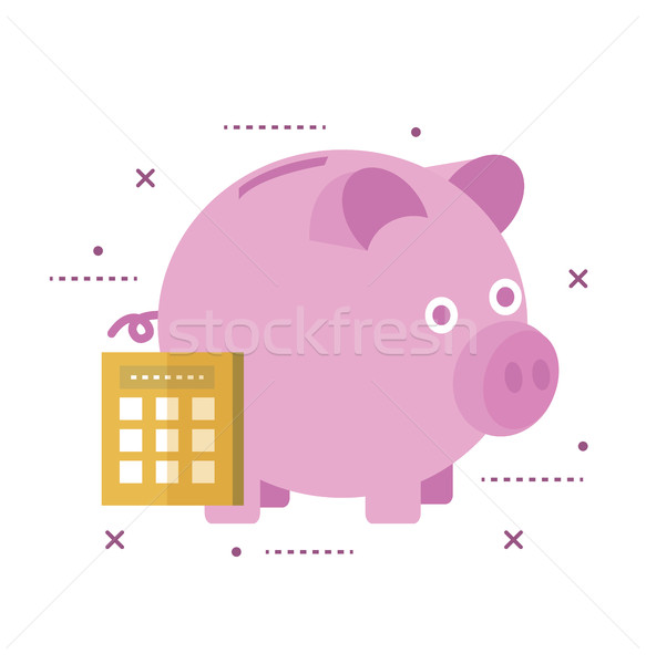 Piggy bank secured with lock. Online banking concept.  Stock photo © mangsaab
