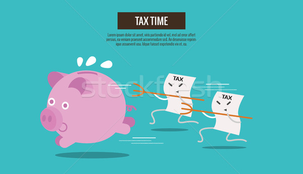 Piggy bank run away from Tax bills catching. Stock photo © mangsaab