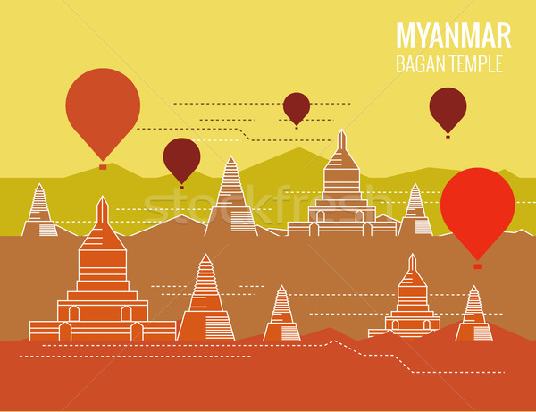 Bagan Temple with hot air balloon.  Stock photo © mangsaab