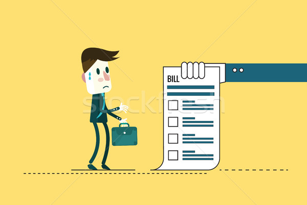 Shocked businessman looking at his bills.  Stock photo © mangsaab