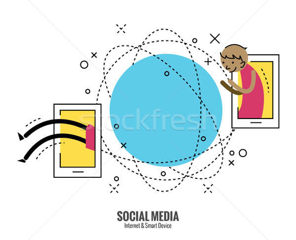 Young man move to another side of globe by smartphone. Stock photo © mangsaab