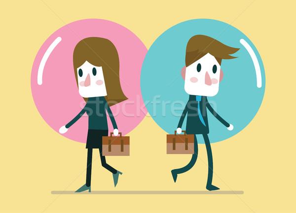 Ludzi biznesu komfort balon stosunku charakter projektu Zdjęcia stock © mangsaab