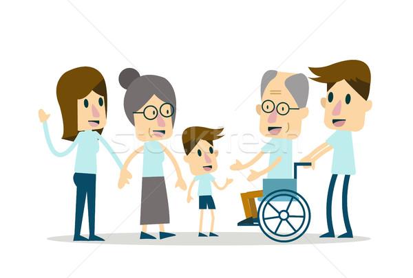 Familia feliz ancianos atención carácter diseno feliz Foto stock © mangsaab
